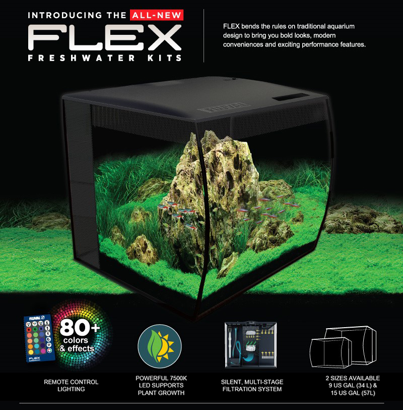 The tank is also equipped with 3-stage filtration and a remote control that allows you to select between several colors and effects.