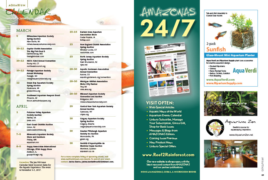 The latest AMAZONAS Magazine Aquarium Events Calendar. Have an aquarium event? Send Janine Banks an email to make sure we know about it!