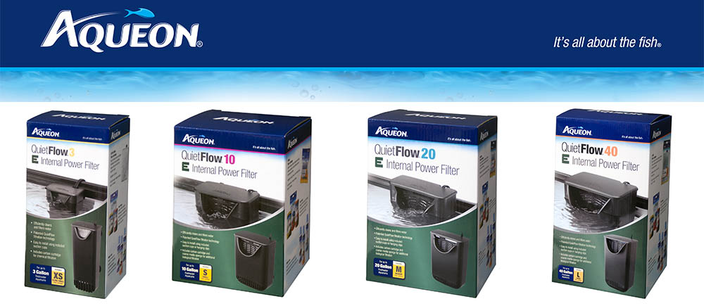 The new Quietflow E Internal Filters from Aqueon are available in 4 sizes