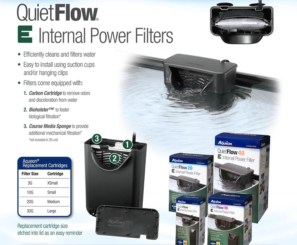 These versatile filters include 3-stage filtration and can be mounted anywhere in the aquarium by suction cups or hanging brackets