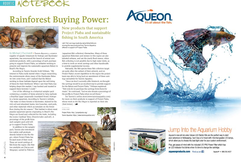 "Aquatic Notebook continues with ""Rainforest Buying Power: New products that support Project Piaba and sustainable fishing in South America"""