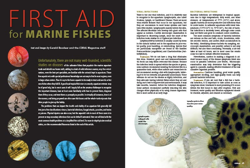 FIRST AID for MARINE FISHES, by Gerald Bassleer and and the CORAL Magazine staff, presents the most common marine aquarium health problems at a simplified first aid level. You'll want to keep this handy reference for the next time trouble strikes.