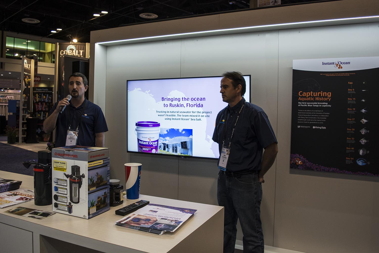 Matt DiMaggio and Eric Cassiano of University of Florida, both of whom worked on the first successful rearing of the Blue or Hippo Tang as part of Rising Tide's research, presented a brief summary of their work at the Spectrum Brands booth.