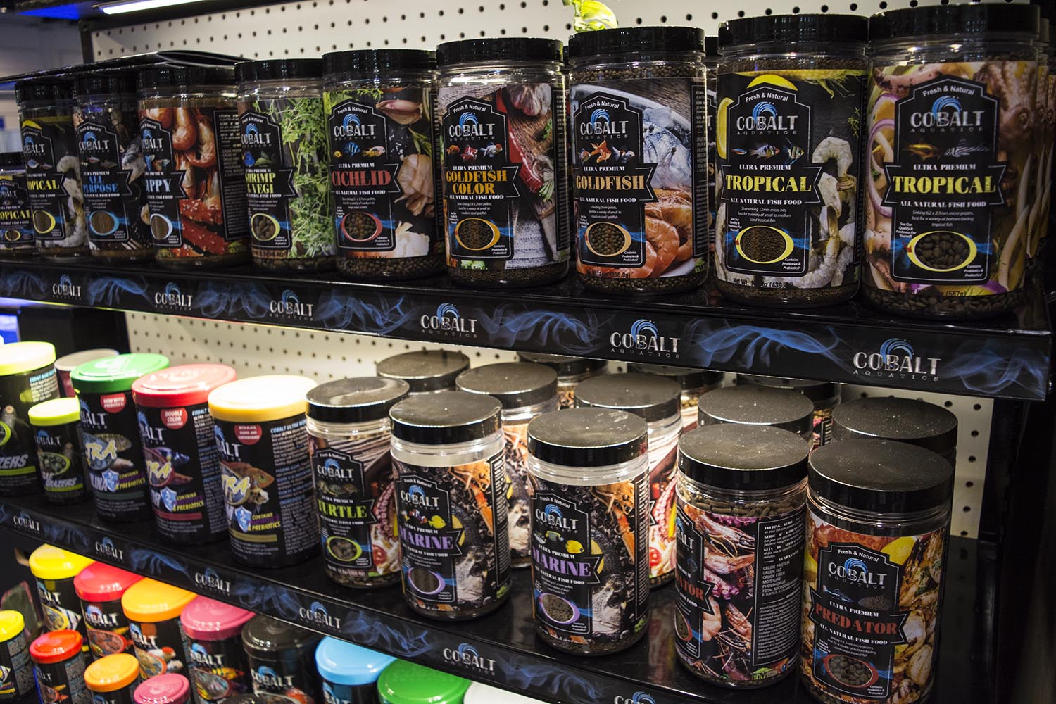 Cobalt Aquatics launched a variety of new products at the show, including their new line of ultra premium fish foods.