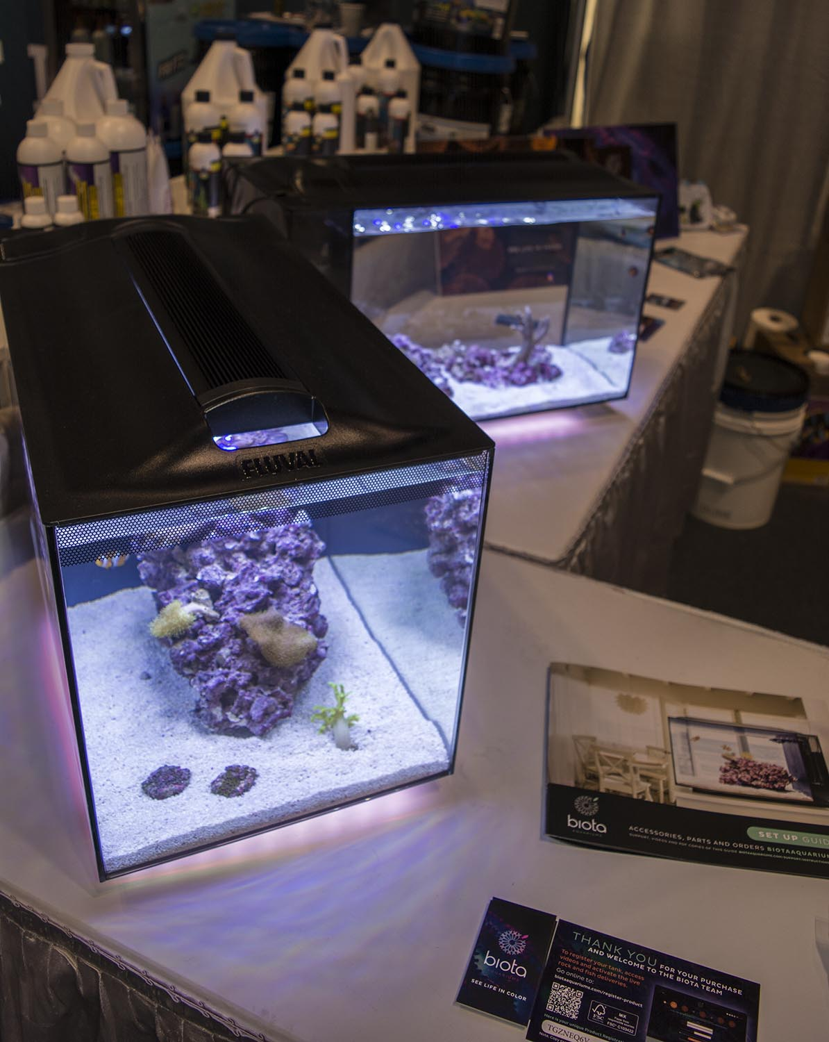New Biota Aquarium kits featuring captive bred fish and corals from Biota Marine Life Nursery in Palau made an appearance at the Two Little Fishies booth.