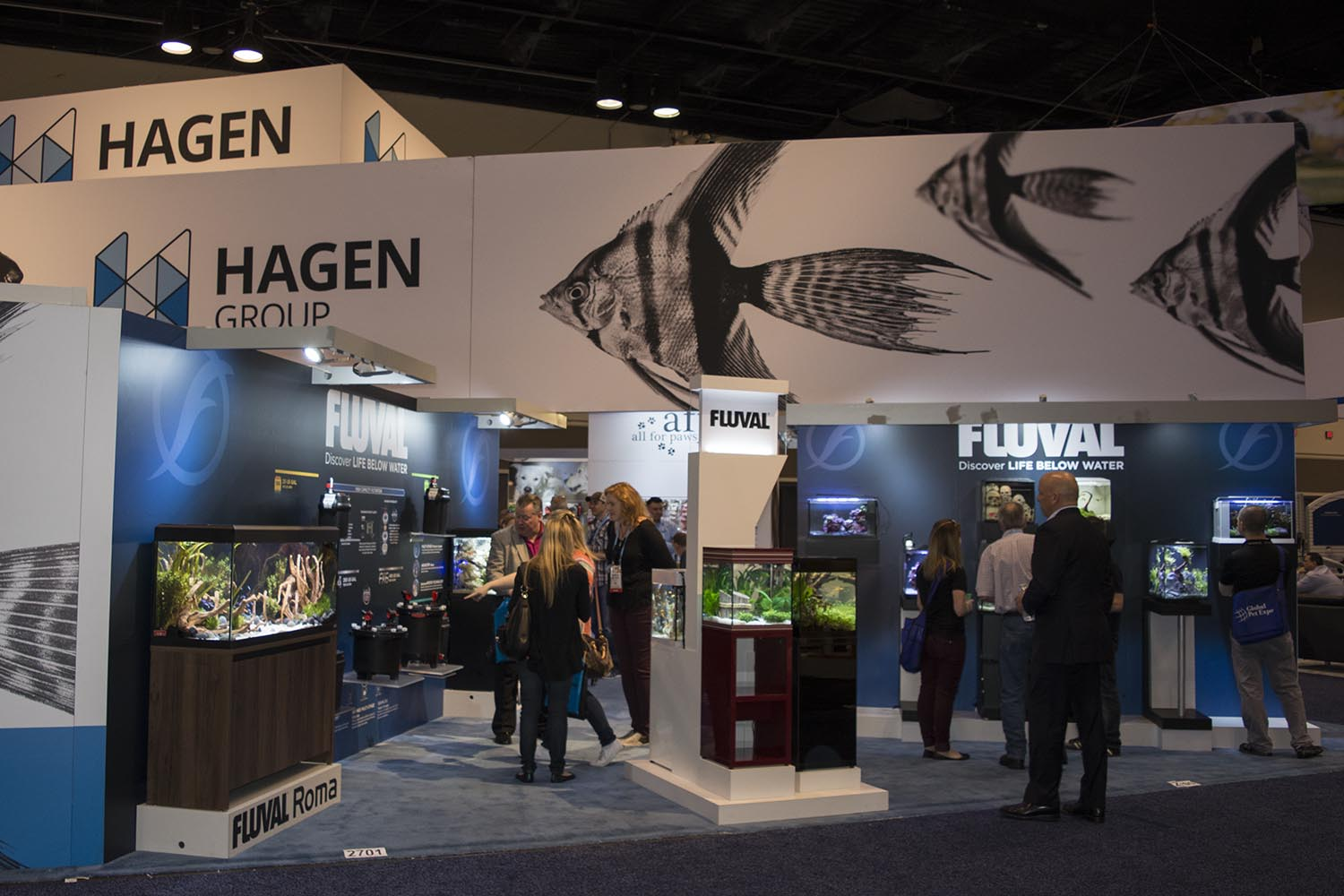 Hagen Group's expansive booth featuring aquariums, filters, and other accessories from Fluval Aquatics.