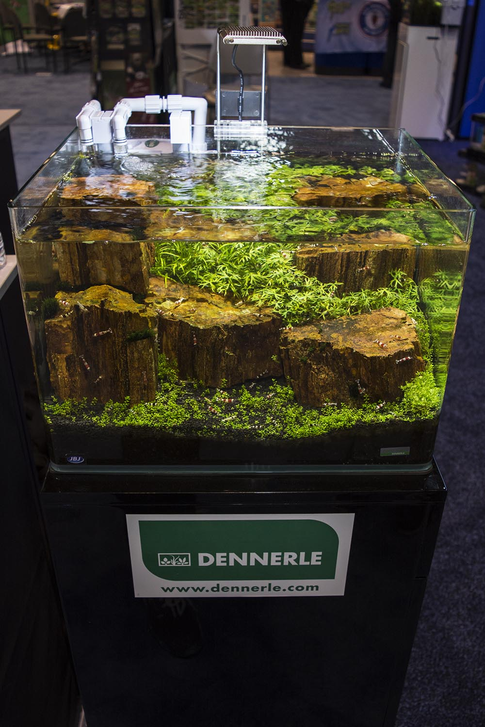 The JBJ booth featured Dennerle's 'Scaper' series tanks and accessories as well as Shrimp King foods.