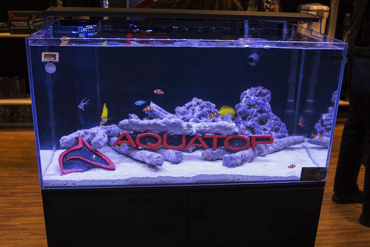 Aquatop's booth prominently featured their new Recife all-in-one reef aquarium setup.