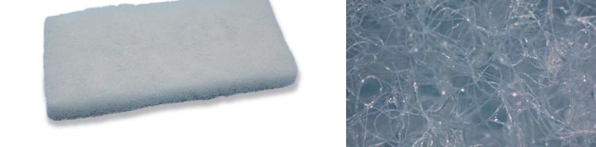 Poly Filter (above), a medium from the USA, whose fibers are coated with adsorptive material (see macro-photo, below) that can bind a wide variety of dissolved substances – could this principle be used for using lanthanum in the marine aquarium?
