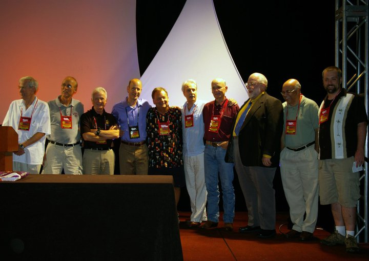 Previous MASNA Aquarist of the Year Award winners on stage at MACNA 2010.