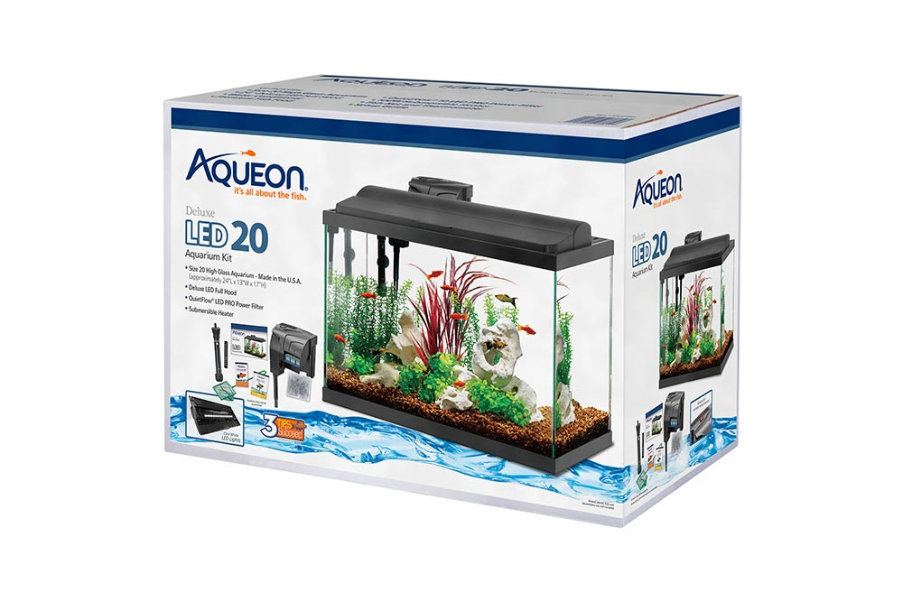 This Aqueon Deluxe LED 20 gallon aquarium kit is an example of Aqueon's updated product packaging.