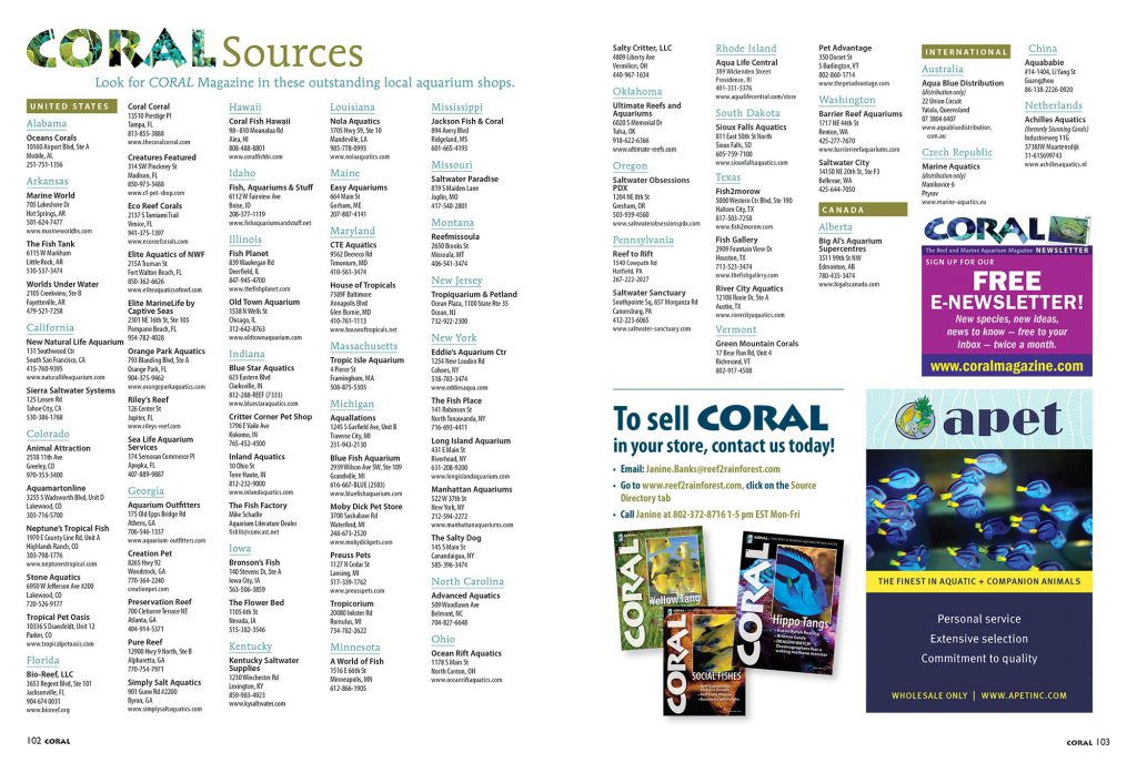 You can find CORAL Magazine for sale as single issues at the BEST aquarium retailers. View this list online as well.