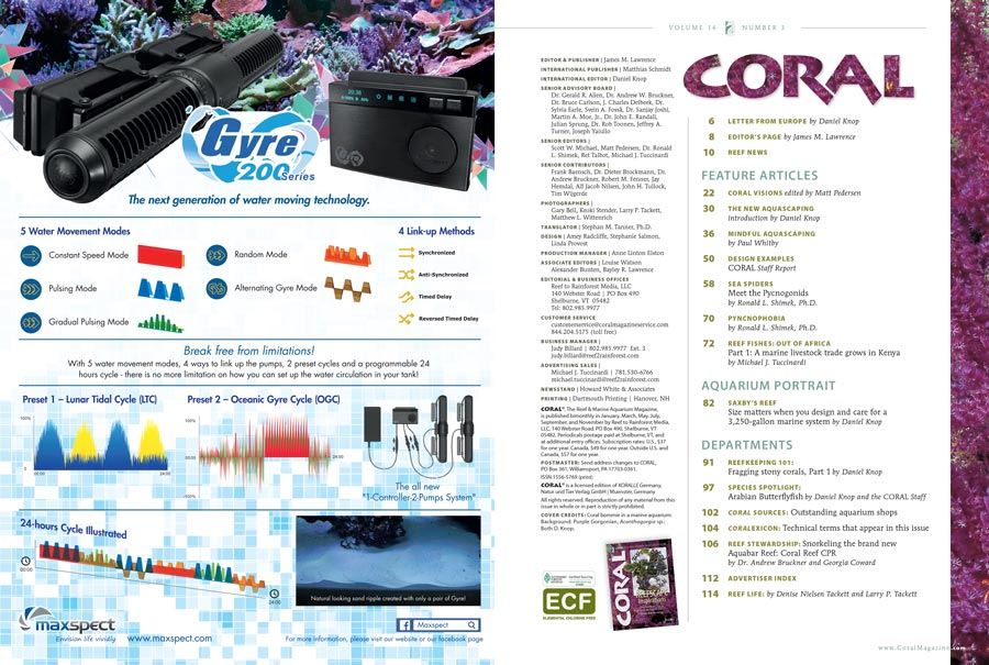 The Table of Contents for our May/June 2017 edition of CORAL Magazine, REEFSCAPE INSPIRATIONS