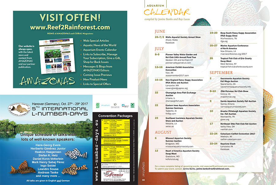 Find out what's happening and where in the aquarium world. Have an event coming up? Send Janine Banks an email to make sure it gets posted online and in print.