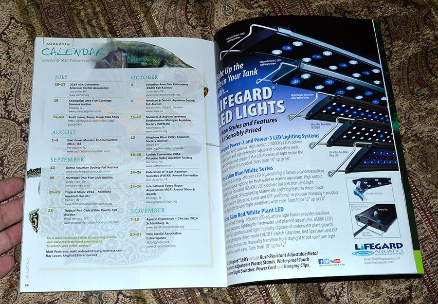 Aquarium Calendar for July/August 2014 - compiled by Matt Pedersen and Ray Lucas