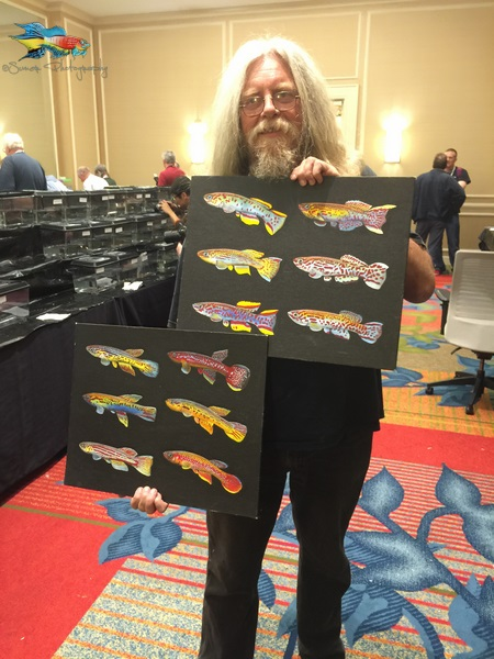 Ken McKeighan is also a great artist. All the fish show trophies were hand painted by him. He also brought some great killifish paintings to sell at the convention.