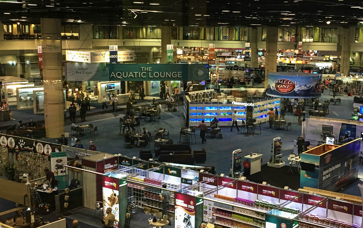 A view of the aquatics section of Global Pet Expo from above. Held in Orlando each spring, the show is one of the biggest in the pet industry.