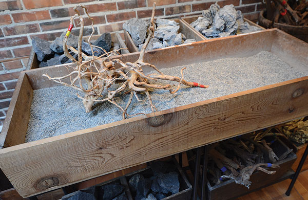 The author's sandbox: a useful tool for pre-visualizing a hardscape layout before it is applied to an aquascape.
