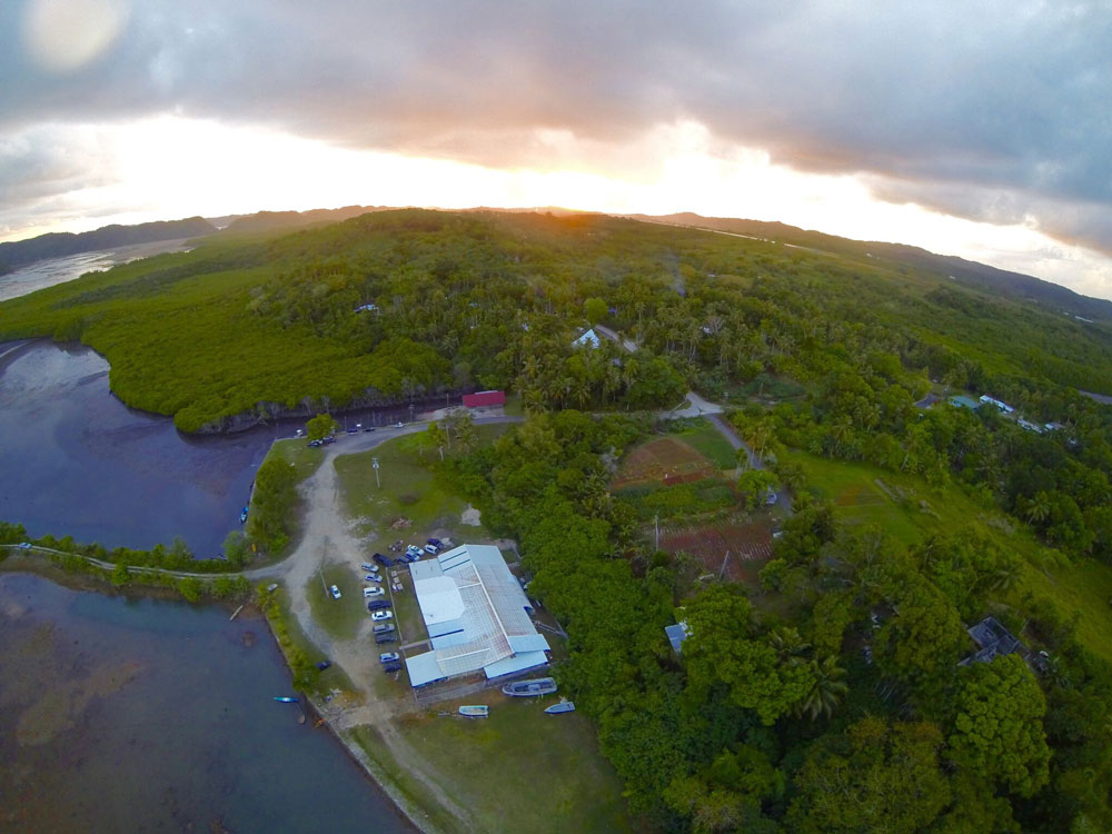 An aerial view of Biota Marine Life Nursery in Palau.