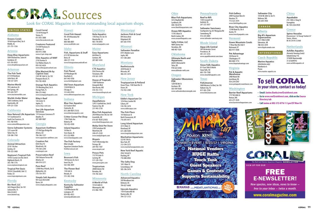 Find CORAL Magazine for sale as single issues at the VERY BEST aquarium retailers. View this list online as well.