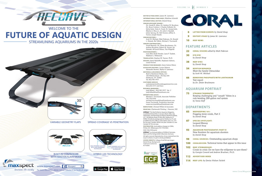 The Table of Contents for theSeptember/October 2017 edition of CORAL Magazine, EYE EYE! You can view an online copy of the Table of Contents here.