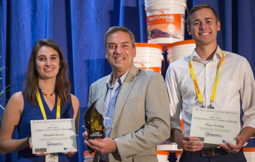 "MASNA has a long-standing tradition of recognizing accomplished aquarists; the 2016 MASNA Award Winner was Joe Yaiullo of the Long Island Aquarium (center), here flanked by the 2016 MASNA Scholarship Recipients Elizabeth ""Liz"" Groover (graduate recipient, left) and Kory Enneking (undergraduate recipient, right)."