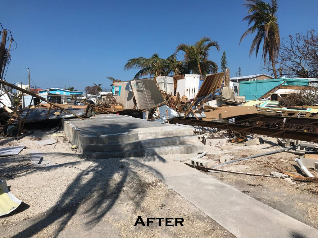 The mobile home residence used for the A&M Coral Farm in Marathon, after Hurricane Irma. Nothing remains but a concrete slab foundation.