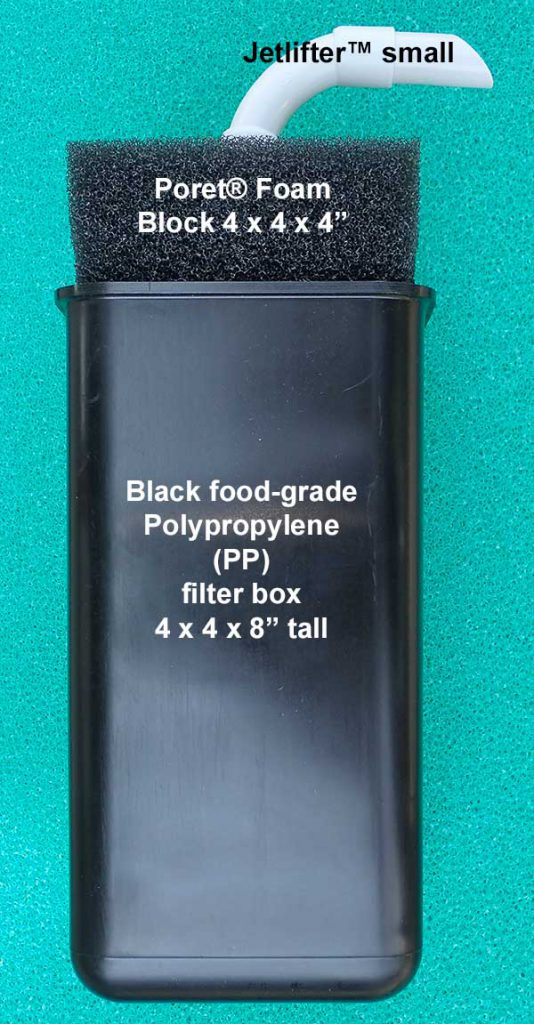 A look at the BetterBoxFilter™. Water enters through the Poret® foam at the top, traveling downward and through the filter body before being returned to the aquarium through the customer Jetlifter. Most any additional filtration media you can think of can be housed in the lower half of the filter, rendering it a tremendously flexible option over the typical air-driven sponge filter.