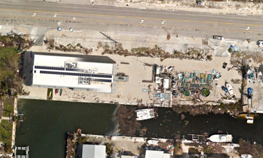 Aerial view of Elizabeth Moore International Center for Coral Reef Research & Restoration (IC2R3) post Irma. Image credit: Mote Marine Lab