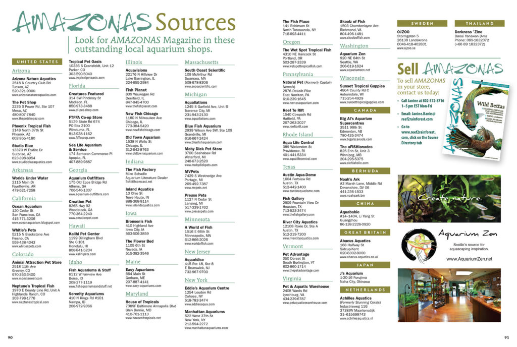 Visit North America's best aquarium shops and find AMAZONAS Magazine for sale as single copies—and hard-to-find back issues. View this list online as well.