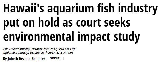 A screenshot of Saturday morning's headline at Hawaii News Now will leave many shocked, as courts officially close Hawaii's Marine Aquarium Fishery.