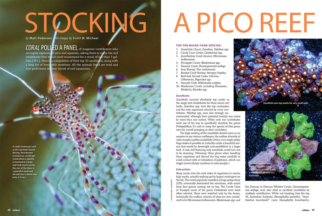 The opening pages of Stocking a Pico Reef, from the January/Febuary 2018 issue of CORAL Magazine, MICRO REEFS! All images by Scott Michael.
