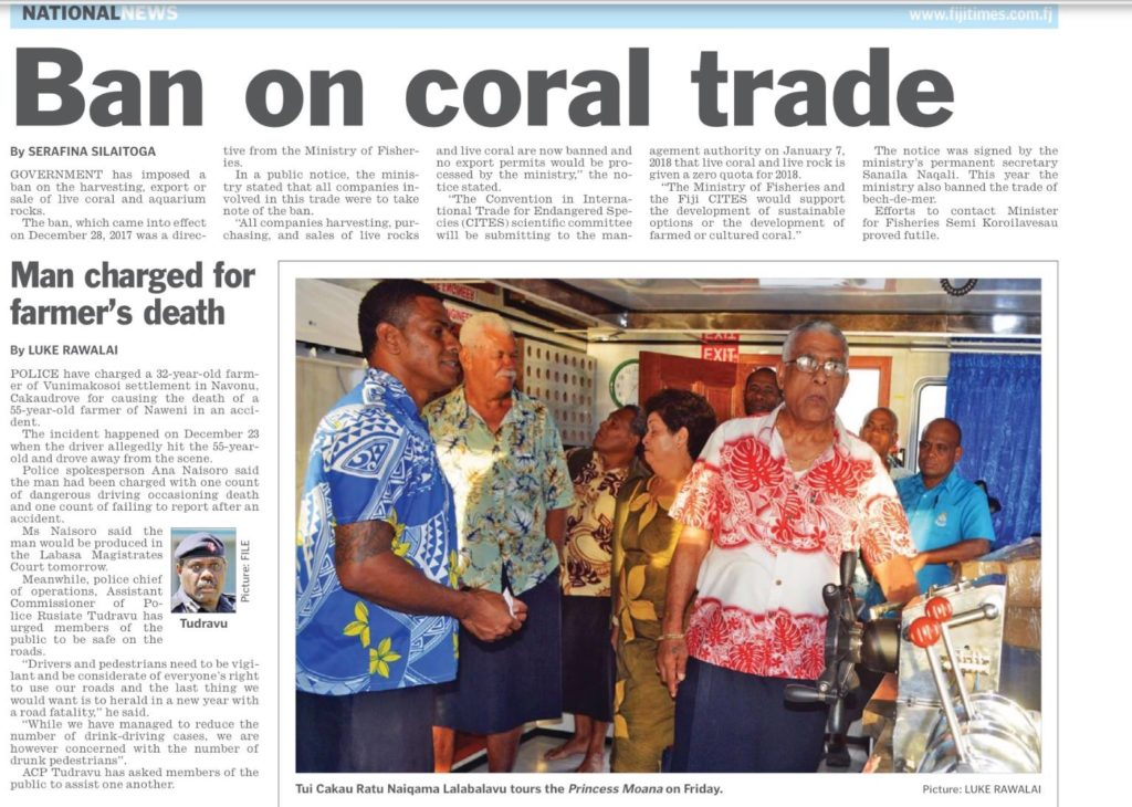 """Ban on coral trade"" reads the Fiji Times headline from January 1st, 2018."