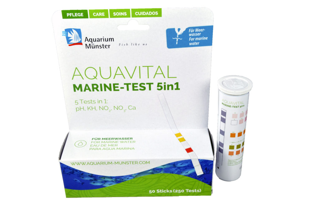 An all-in-one test strip that covers pH, nitrite, nitrate, calcium and alkalinity? YES! The new Aquavital Marine-Test 5in1!