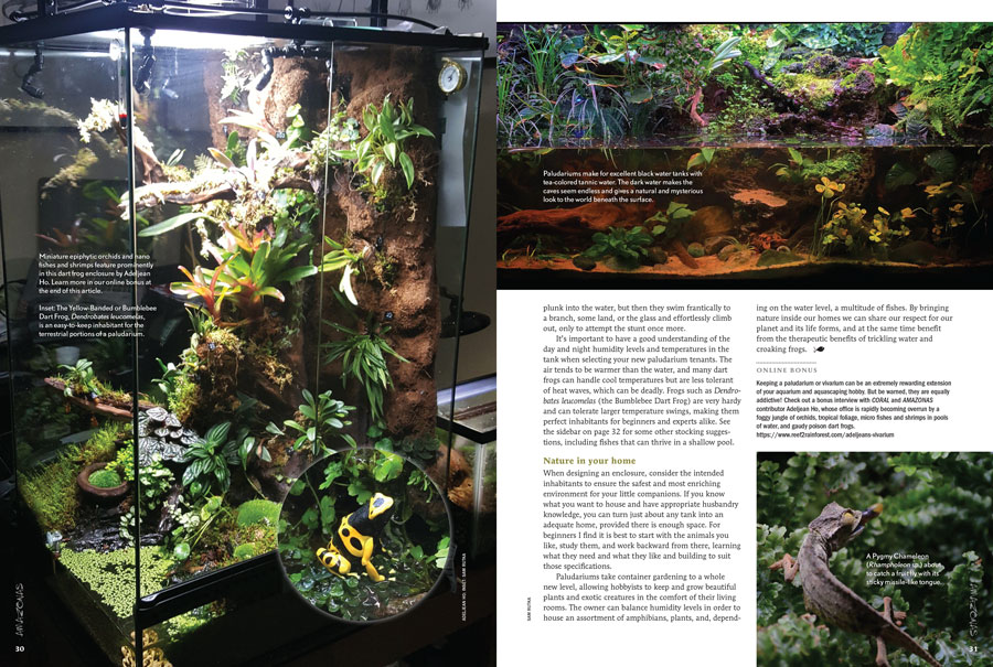 The closing pages of Sam Rutka's article, Behold...The Paludarium, from the Jan/Feb 2018 issue of AMAZONAS Magazine.