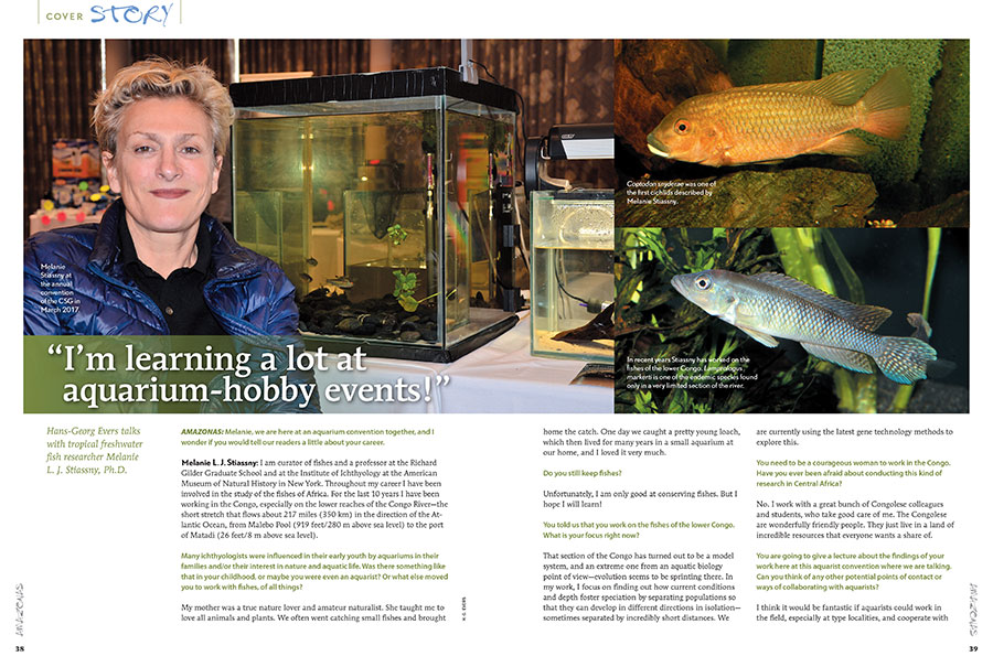 """I'm learning a lot at aquarium-hobby events!"" Hans-Georg Evers talks with tropical freshwater fish researcher Melanie L. J. Stiassny, Ph.D."