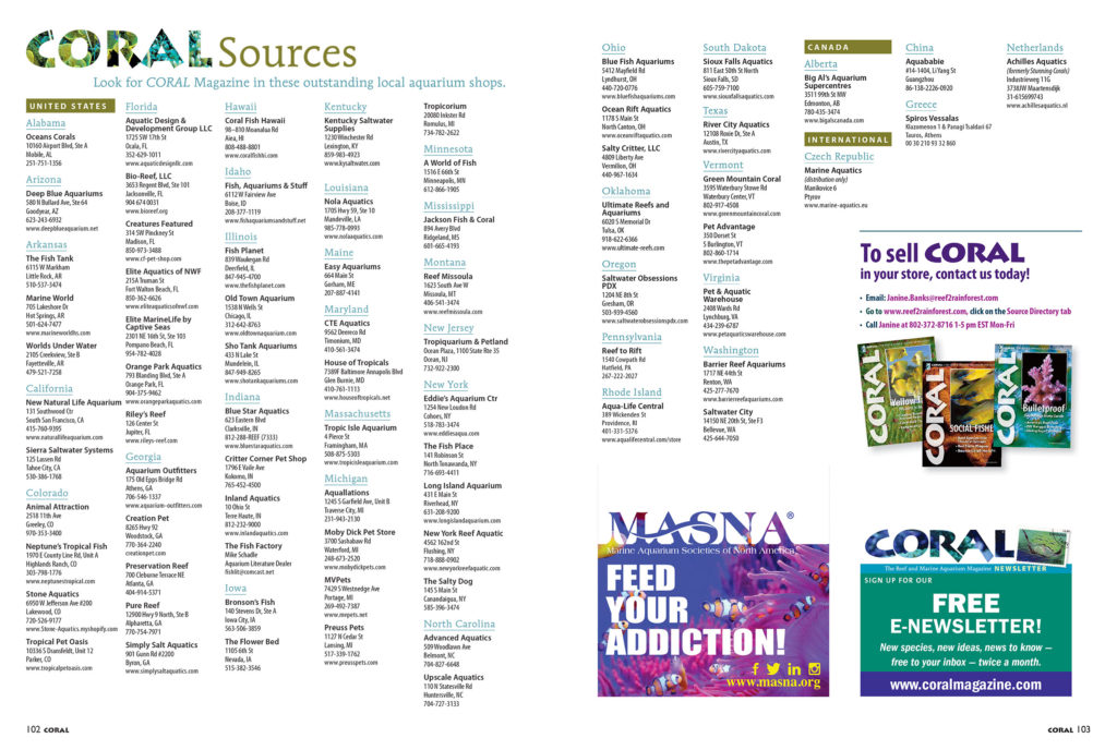 Find CORAL Magazine for sale as single issues at the VERY BEST aquarium retailers. Our sources list is always available online; handy when you're looking for a new local fish shop in your area!
