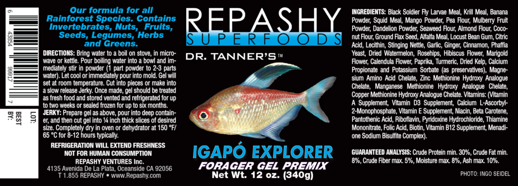 Check out the full product label including ingredients and instructions for the new Igapó Explorer gel-based aquarium fish diet.
