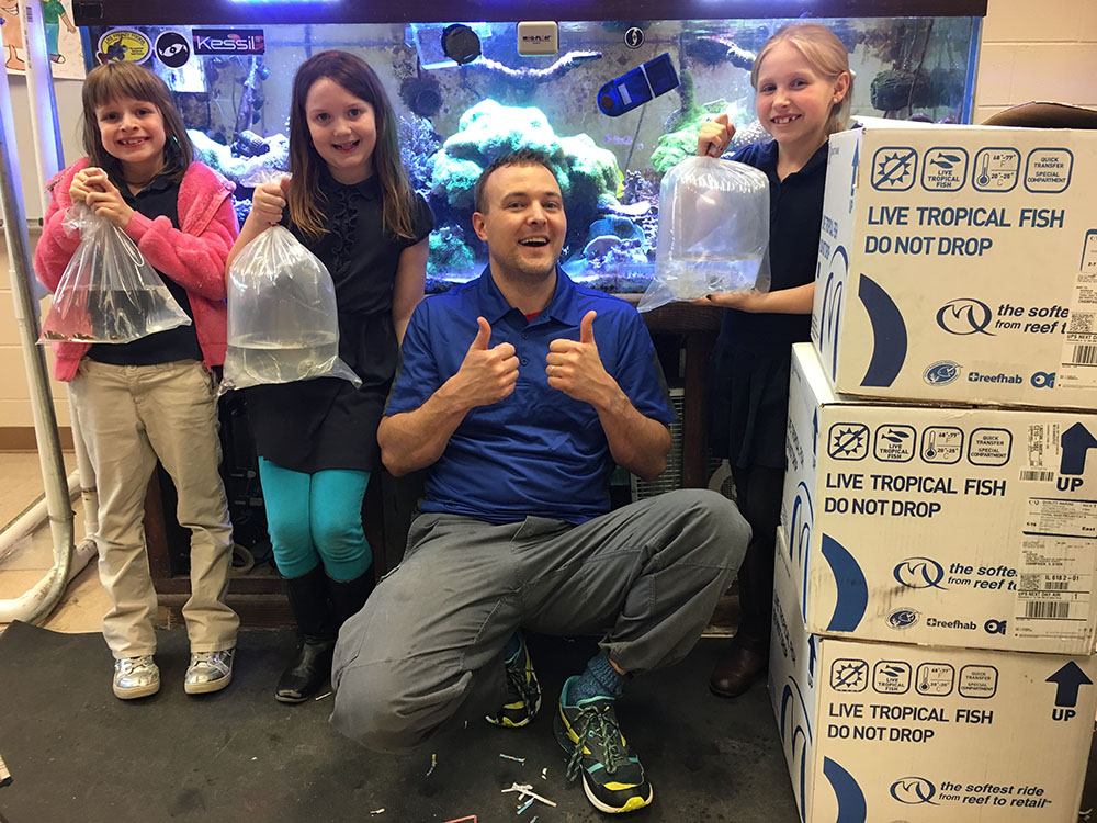 Brandon Rutherford and students at Stratton Elementary (Champaign, IL) are learning the importance of captive breeding marine fish.