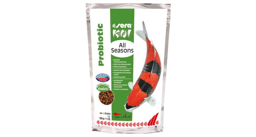 sera's new Koi All Seasons Probiotic, shown here in the 500 gram / 1.1 lb. packaging.
