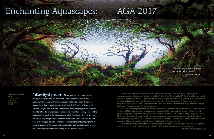 As aquascapers around the globe are gearing up to compete in the Aquatic Gardeners Association's annual international Aquascaping Content this fall, we look back at the best planted-tanks to learn what it took to win in 2017.