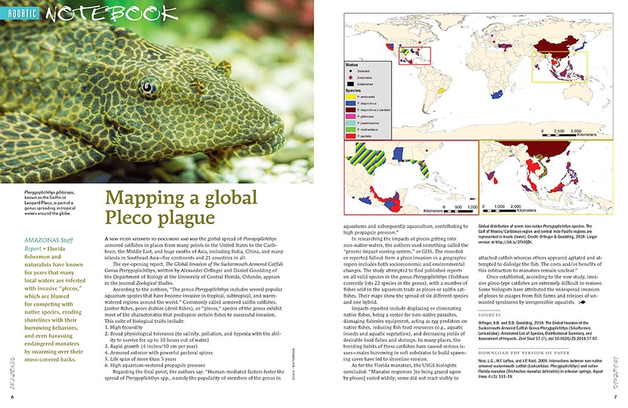 "AQUATIC NOTEBOOK brings you news from around the aquarium and scientific communities. In this issue, we map the global spread of invasive plecos, remember the life of Felipe Cantera, examine the hypothesis that Blind Cave Tetras may hold secrets to help sleep-deprived humans, and take a gamble on the new tetra Moenkhausia sp. ""Yellow Kogal""."