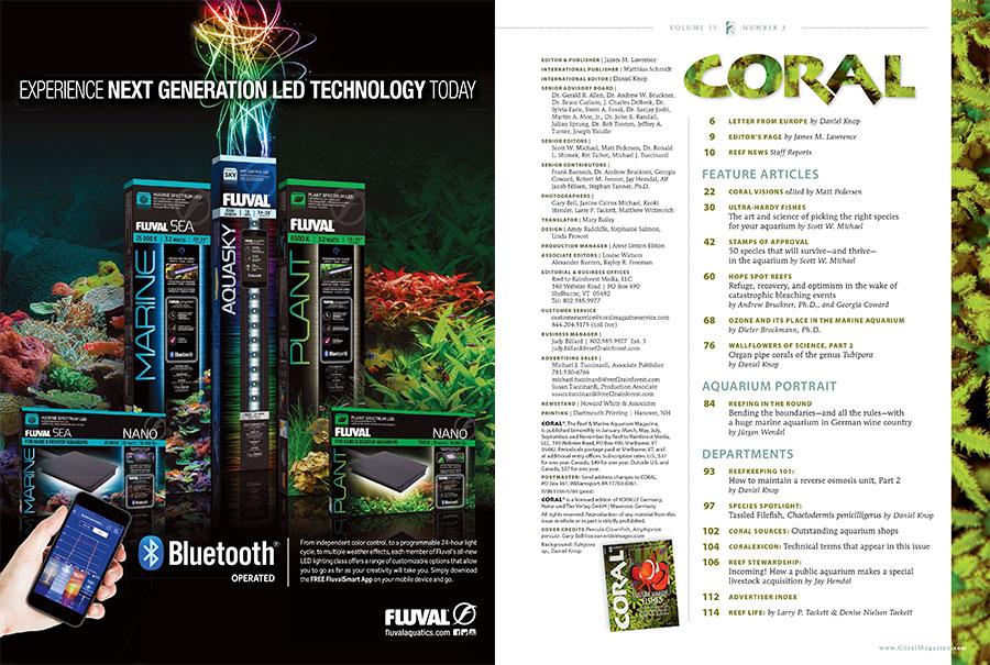 The Table of Contents for the May/June 2018 edition of CORAL Magazine, ULTRA-HARDY FISHES.