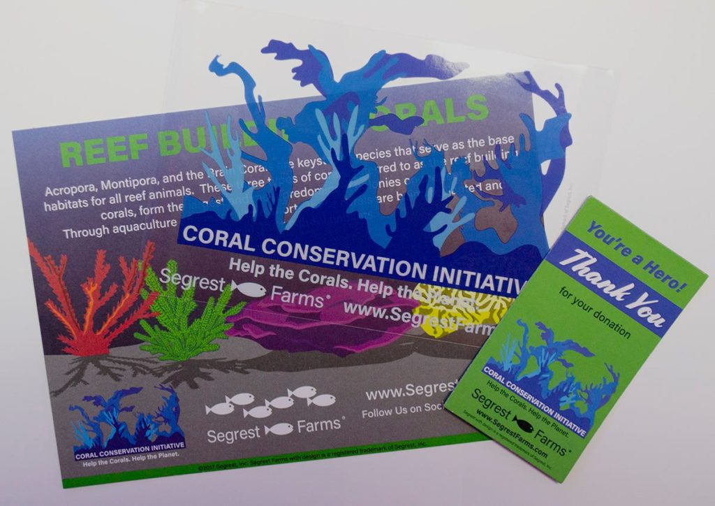 Get a free colorful postcard, a window cling and a fridge magnet, when you give to one of the coral conservation organizations showcased in Segrest Farm's new Coral Conservation Initiative (CCI) Database.