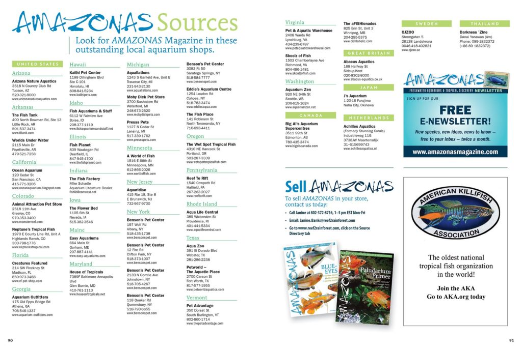 Visit North America's best aquarium shops and find AMAZONAS Magazine for sale as single copies and hard-to-find back issues. View this list online as well.