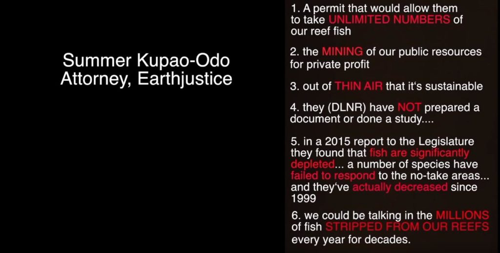 Statements made on Hawaii Public Radio by Earthjustice Attorney Summer Kupao-Ono which are factually unsound and highly inflammatory.