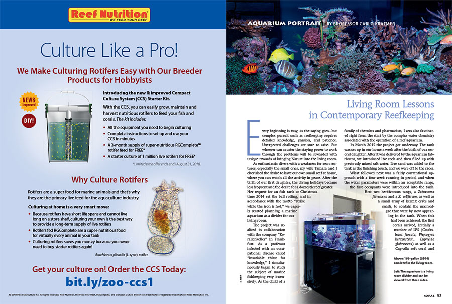 In this issue's AQUARIUM PORTRAIT, Professor Carlo Kraemer shares his living room lessons in contemporary reefkeeping.