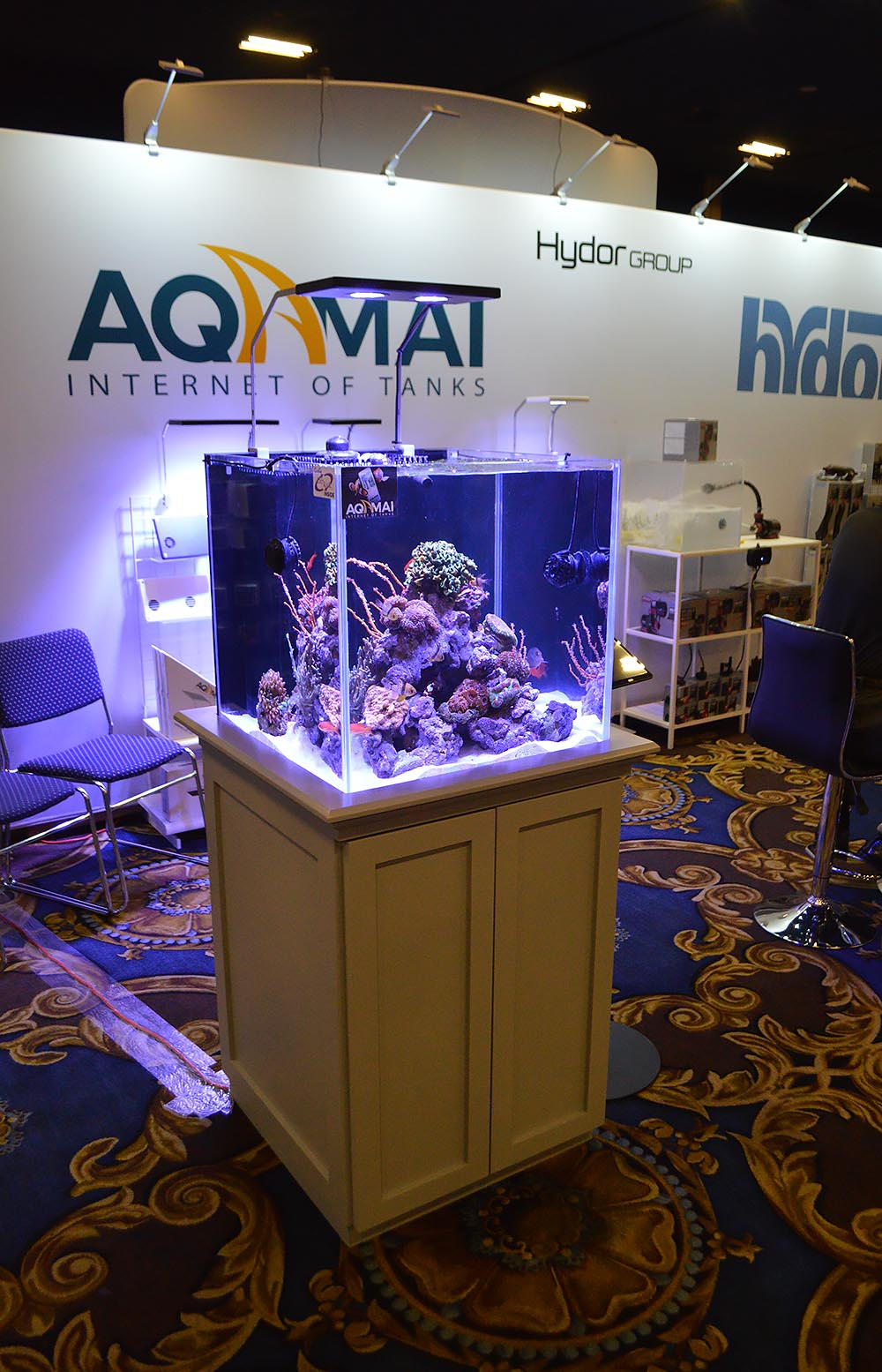 Hydor Group's booth included this nice rimless tank setup.
