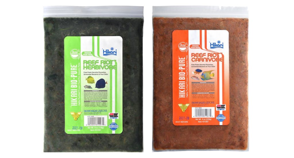 "Hikari's new Reef Riot™ formulations are available in both herbivorous (left) and carnivorous variations; the latest in a ""blizzard"" type frozen reef aquarium food."