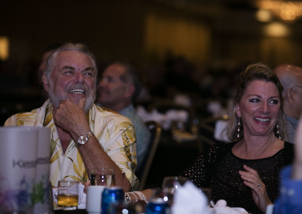 Walt and Deb Smith at the 2018 MACNA Banquet in Las Vegas, as Bob Fenner introduces his long-time friend.